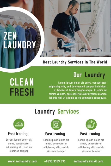 Laundry Service Business Flyer Template Design