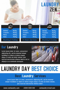 Laundry services flyer design template