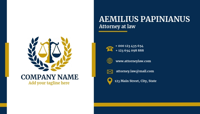 Law attorney business card template