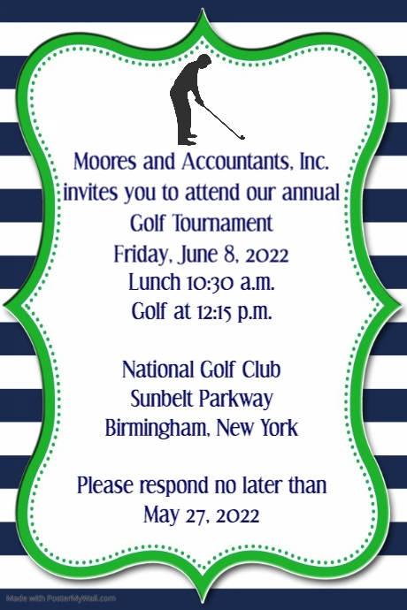 Law Office Golf tournament invitation announcement poster