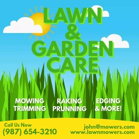 Lawn & Garden Care Mowing animation Persegi (1:1) template