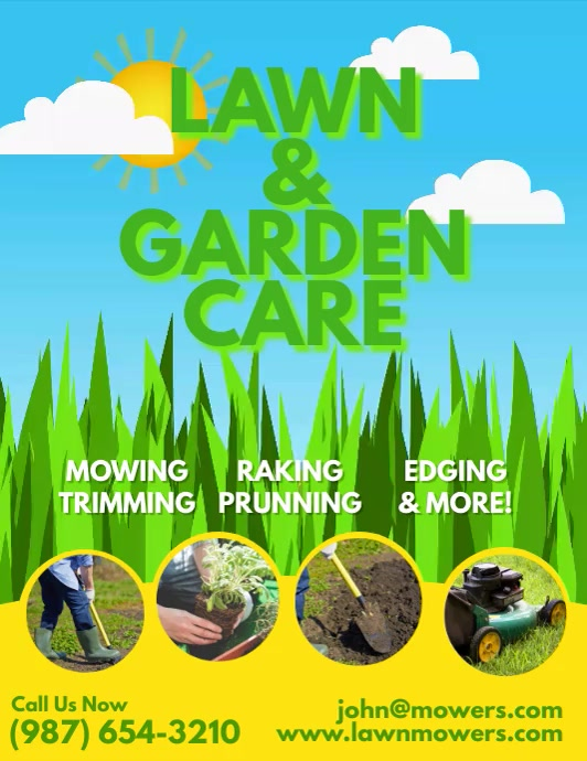 Lawn & Garden Care Mowing animation flyer Pamflet (Letter AS) template
