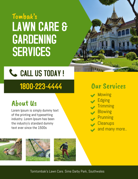 lawn  u0026 landscaping service flyer template