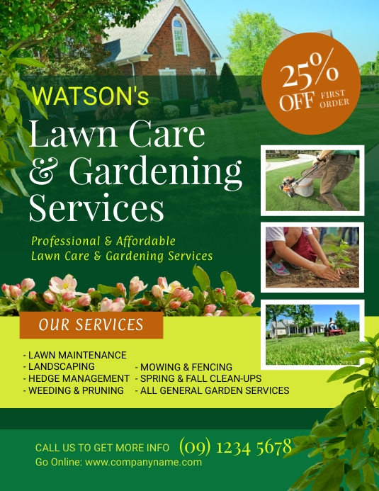 Lawn and landscaping flyer template postermywall for Garden maintenance flyer template