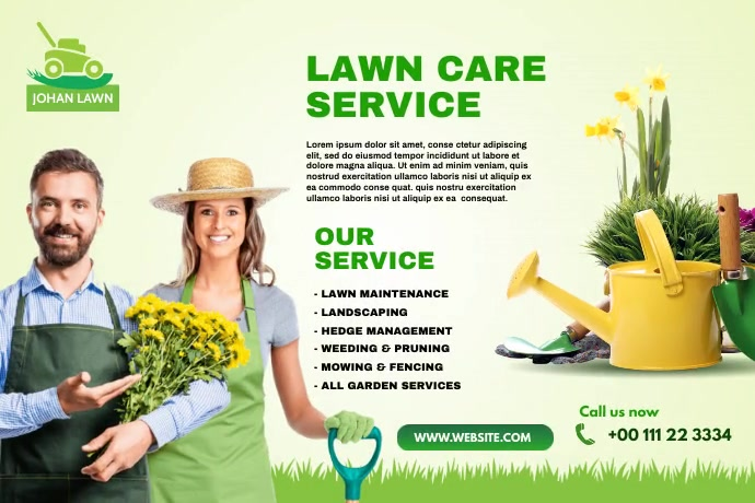 Lawn Care & Gardening Services Banner template