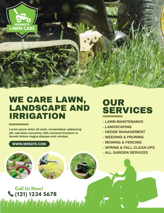 Lawn Care & Gardening Services Pamflet (Letter AS) template