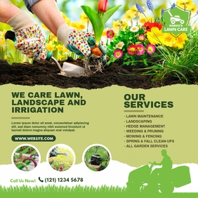 Lawn Care & Gardening Services Instagram Post template