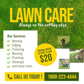 Lawn Care and Landscaping Services Flyer Instagram Post template