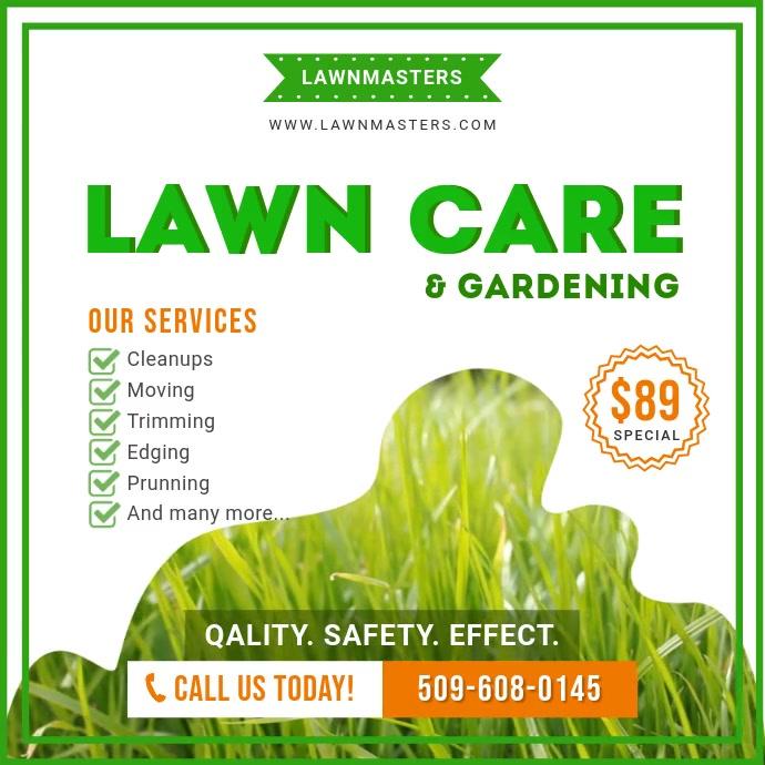 Lawn Care Instagram video Persegi (1:1) template
