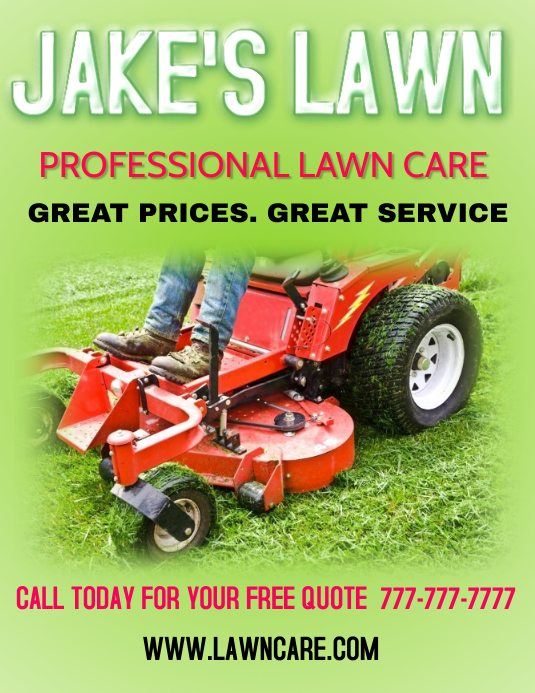 lawn care landscaping grass cutting small business flyers
