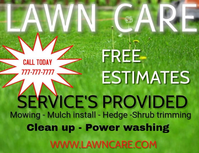 lawn care landscaping grass cutting small business flyers template