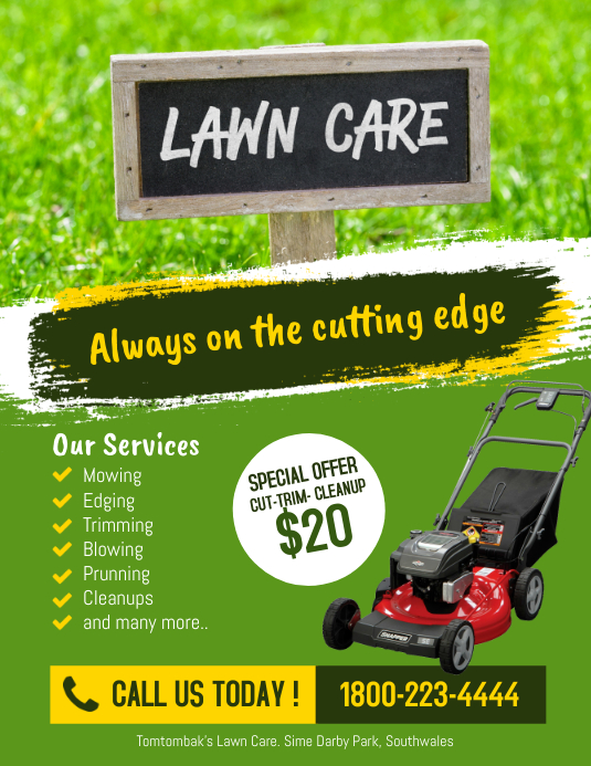 lawn care services flyer poster template