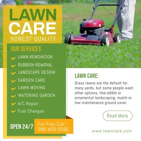 Lawn Care Social Media Post Cuadrado (1:1) template