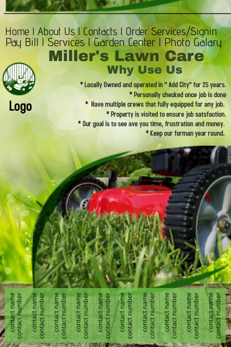 Lawn Care Website Template Postermywall