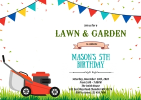 Lawn mower party invitation A6 template