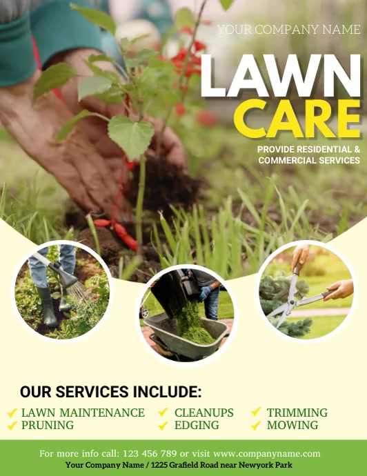 lawn mowing, lawn care, lawn video, lawn Pamflet (VSA Brief) template