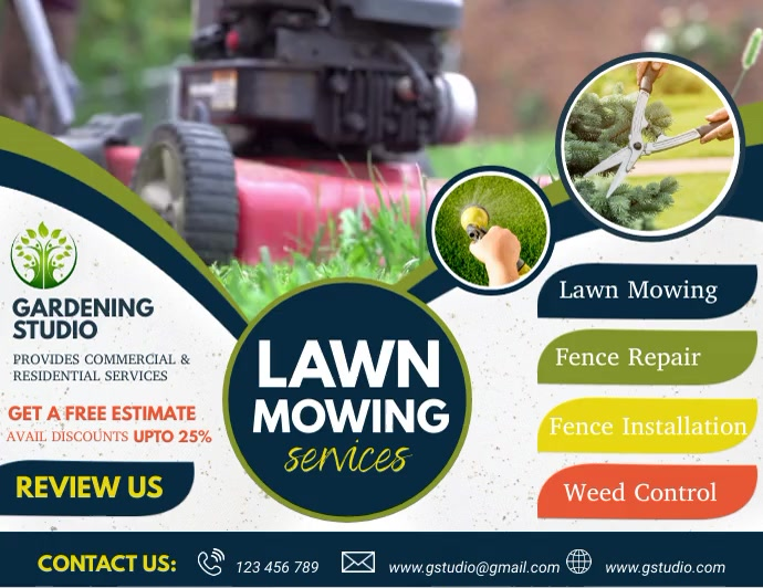 lawn mowing, lawn service, lawn care video Pamflet (VSA Brief) template