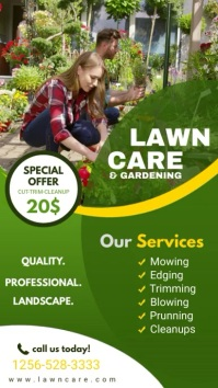 Lawn Mowing & Garden Care Service Display Affichage numérique (9:16) template
