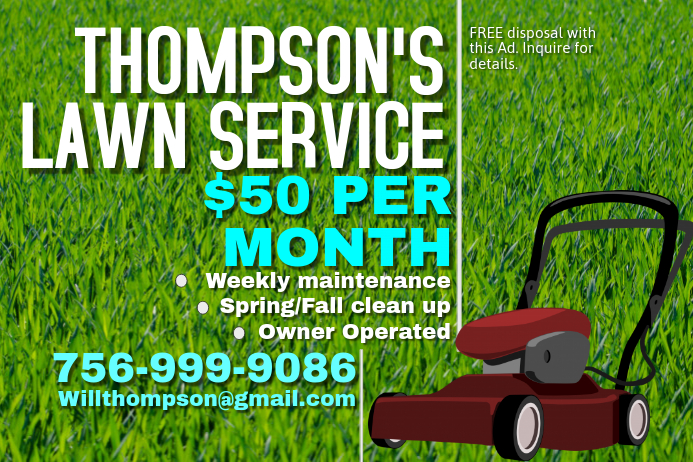Lawn Mowing Poster Template