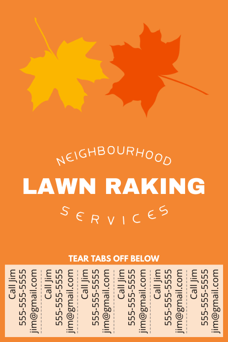 Lawn Raking Poster with Tear-off tabs