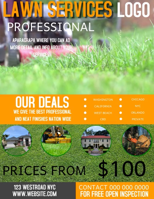 LAWN SERVICE AGENCY FLYER VIDEO TEMPLATE Pamflet (Letter AS)