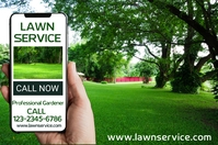Lawn Service Gardening Promo Poster Template