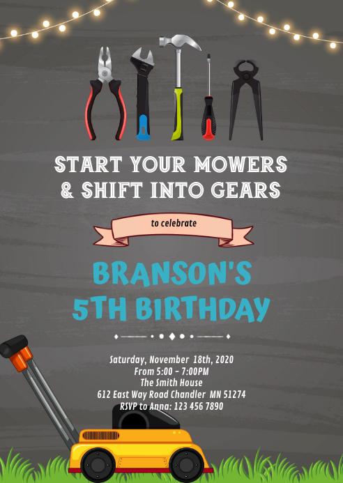 Lawnmower Birthday Invitation A6 template