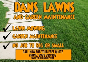 Lawnmowing Postcard template