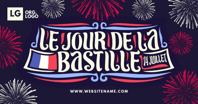 Le Jour De La Bastille Post Template Gedeelde afbeelding op Facebook