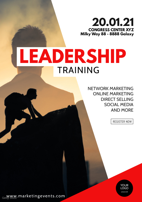 Leadership Training Sales Seminar Congress ad A4 template