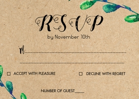 Leaf Rustic kraft wedding RSVP card 2