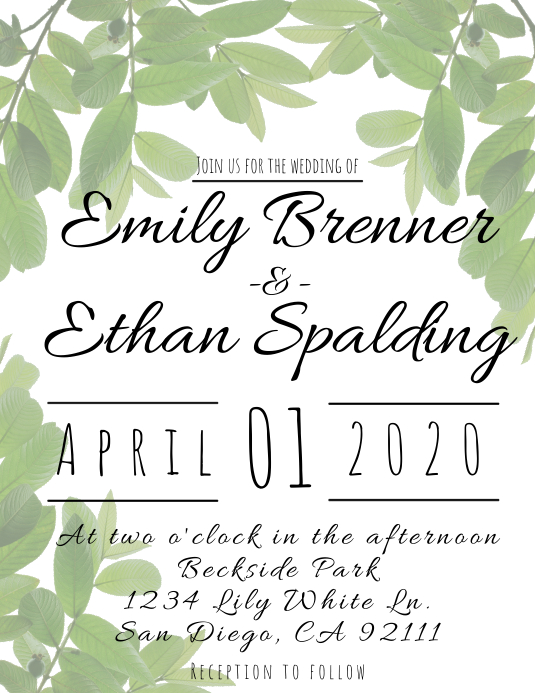 Leafy Wedding Invitation