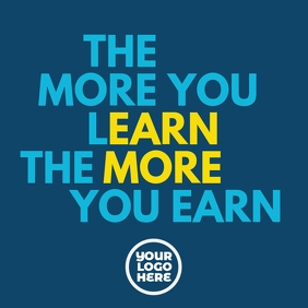 Learn and earn motivation poster ad