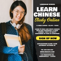 Learn Chinese Online Learning Poster Сообщение Instagram template