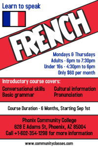 Learn French Language Flyer Poster Template