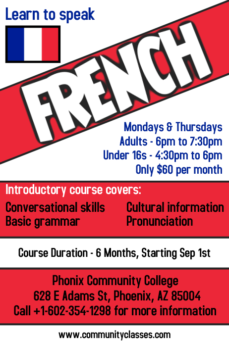 Learn French Language Flyer Poster Template Postermywall