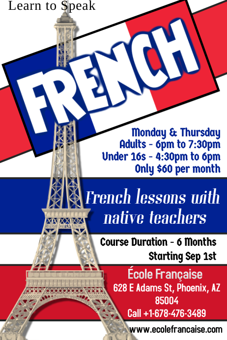 Learn French Flyer Template Postermywall