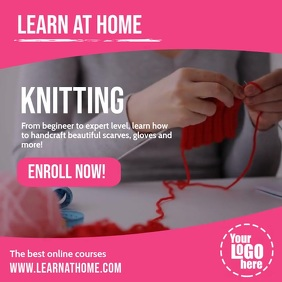 Learn home knitting handcraft online courses Pos Instagram template
