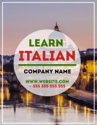 Learn italian flyer advertisement