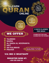 Learn Quran Online Class poster flyer Volante (Carta US) template