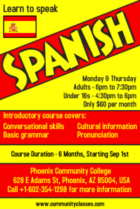 Learn Spanish Language Flyer Poster Template