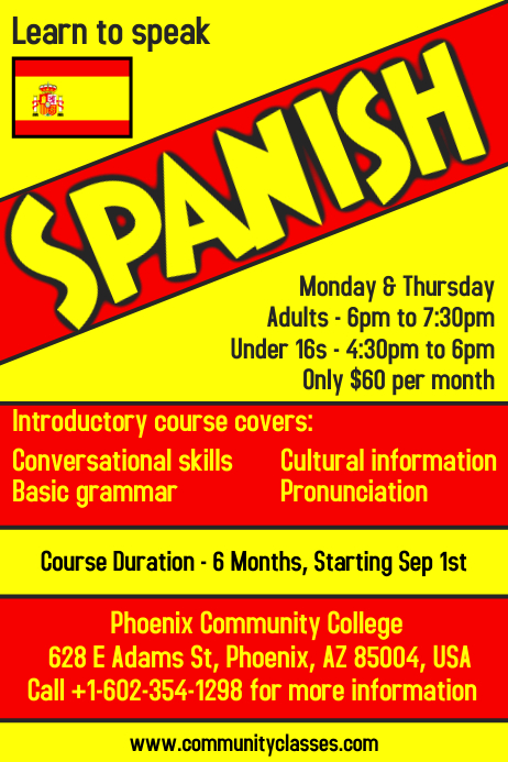 Learn Spanish Language Flyer Poster Template Postermywall
