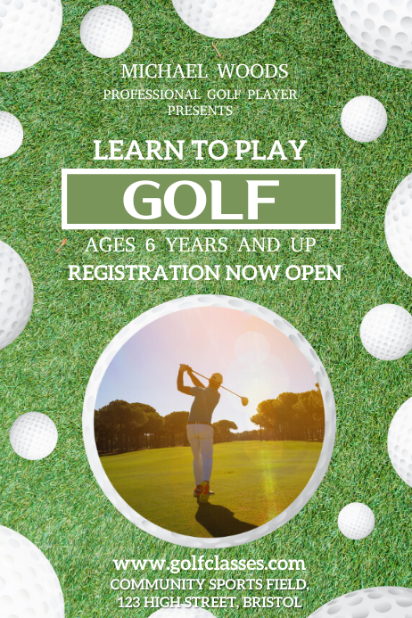 Learn to Play Golf Poster Template