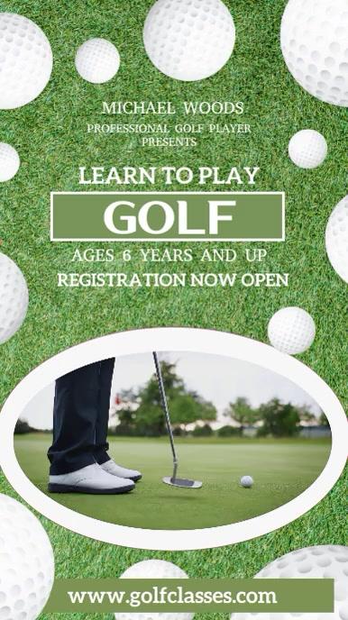 Learn to Play Golf Social Media Template Digital Display (9:16)