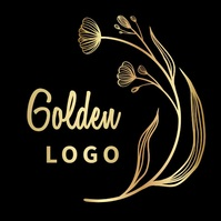 LEAVES PLANT GOLDEN FEMININE logo editable template