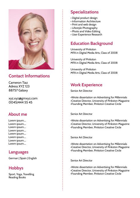 Copy Of Lebenslauf Skills Card Job Curriculum Vitae Postermywall