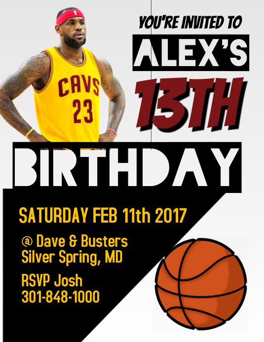 Lebron James Birthday Invitation