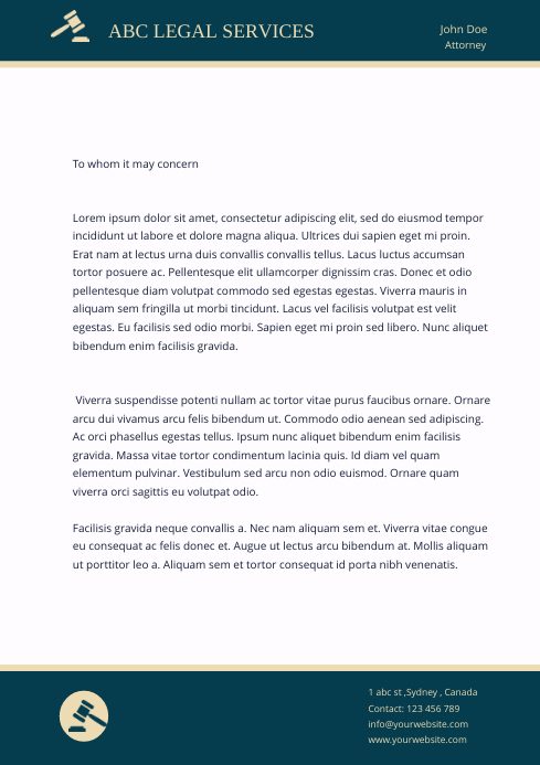 LEGAL letter head template