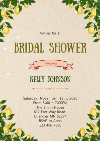 Lemon bridal shower invitation A6 template