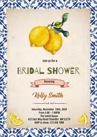 Lemon Citrus birthday shower card A6 template